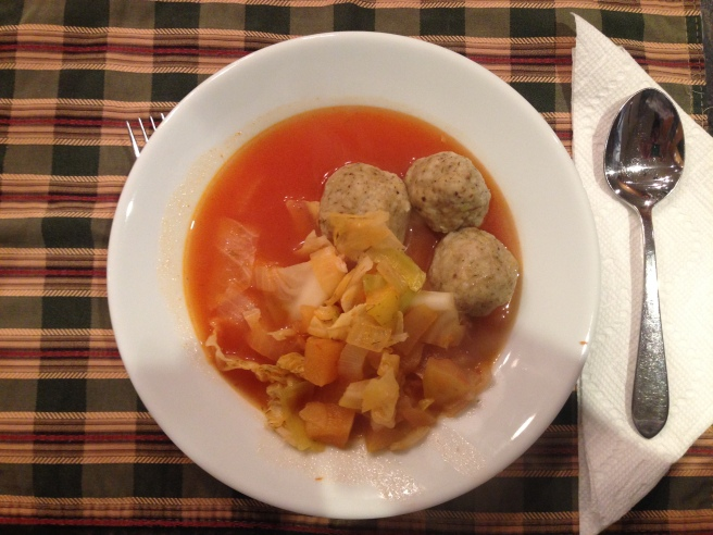 Cabbage soup with kneidlach
