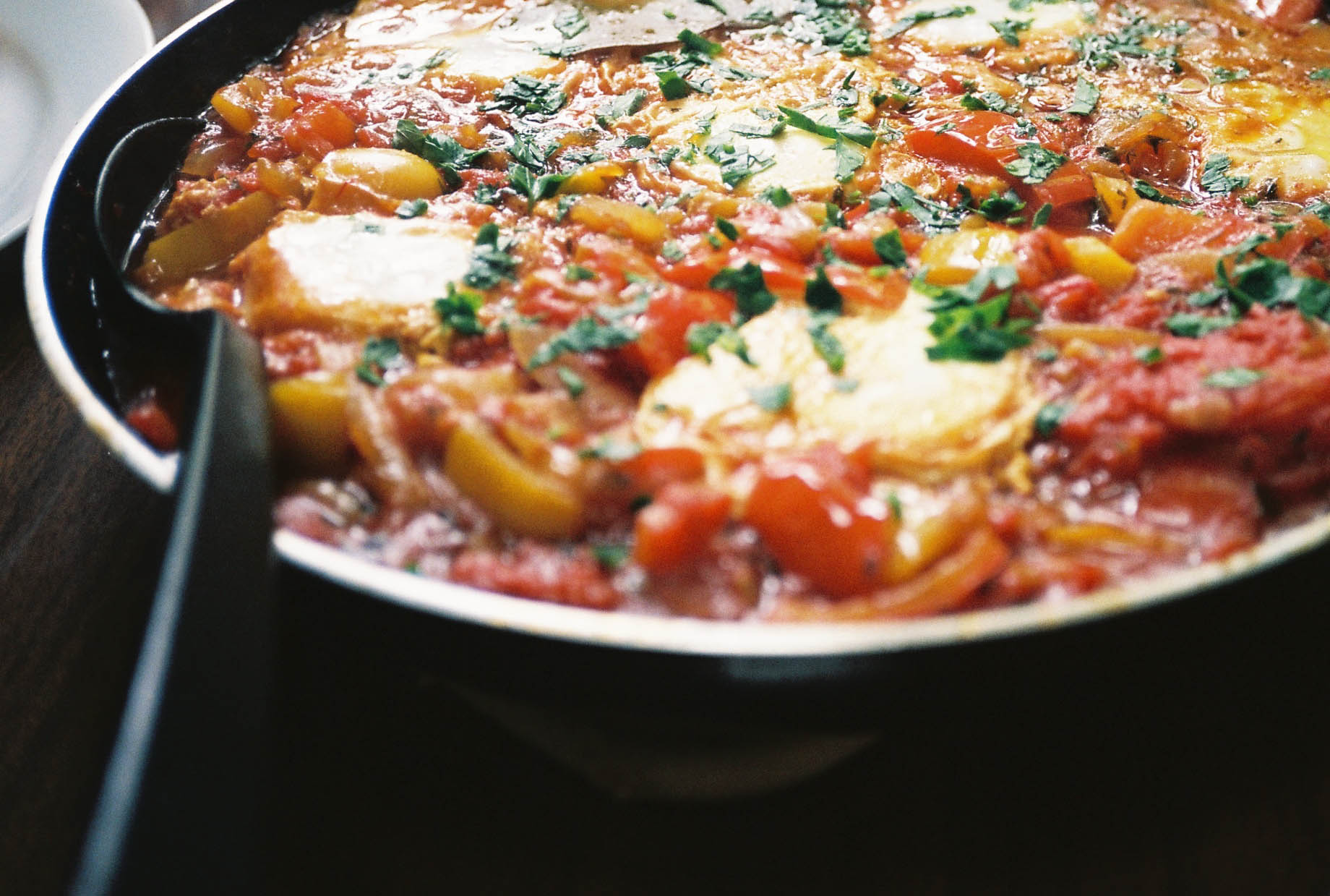 Tunisian shakshouka in a pan