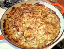 Potato kugel in a cast-iron skillet
