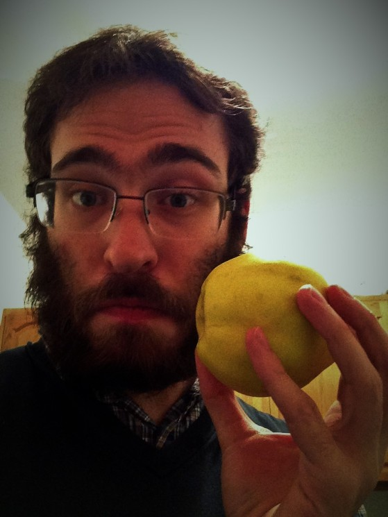 Selfie of me with a quince