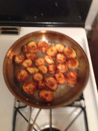 browning plantains in pan