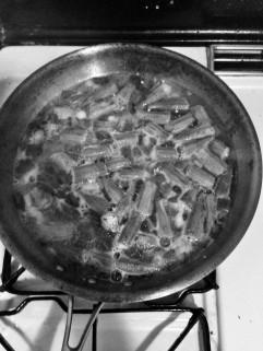 Bamia con limon on the stove (B+W)