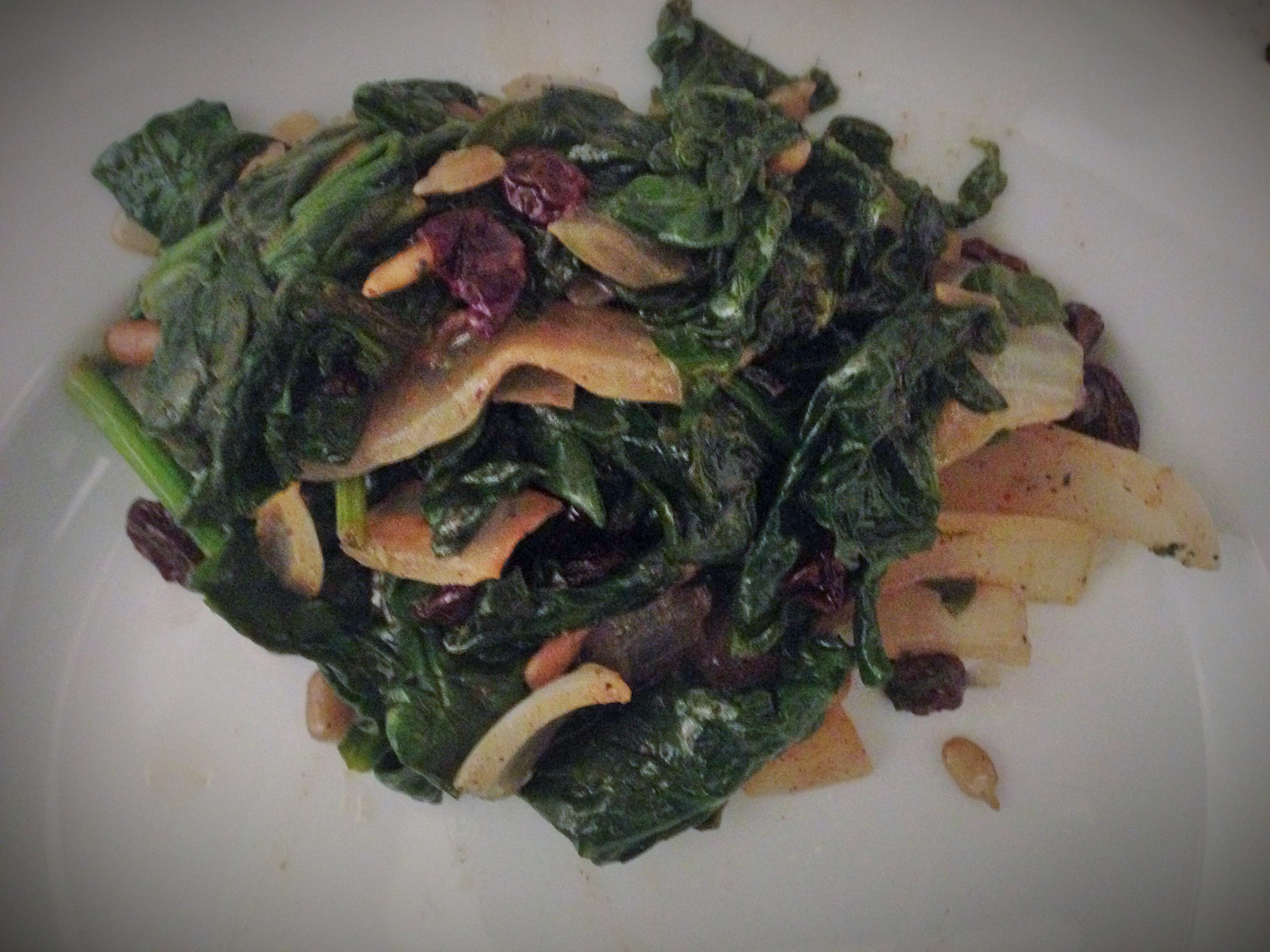Spinach with raisins and pine nuts!