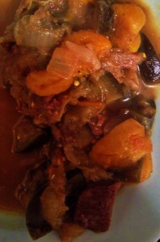 Beef stew with eggplant, apricots, and dates
