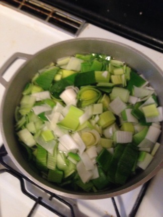 Boiling the leeks...