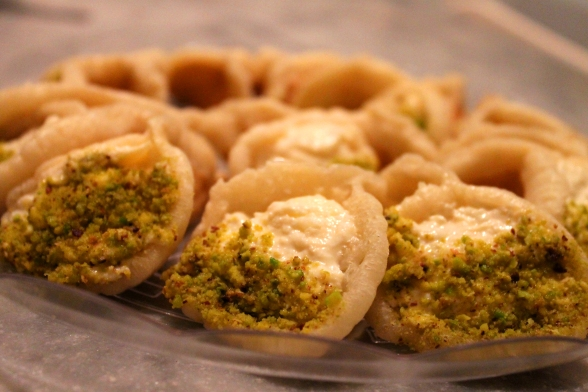 Qatayef with cheese and pistachios
