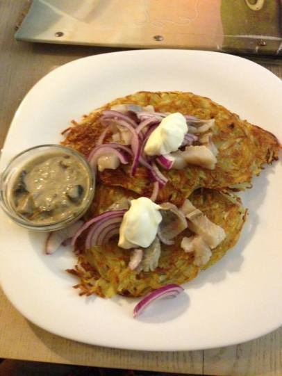 Herring on potato pancakes