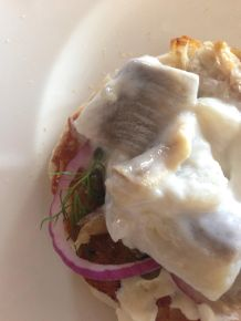Herring on an English muffin