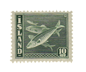 An Icelandic postage stamp with herring.