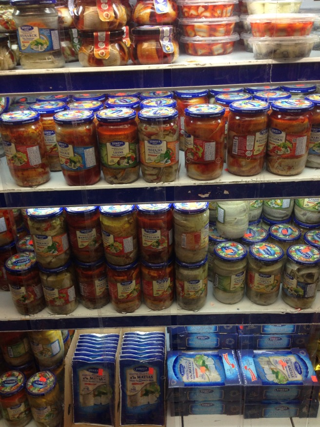herring refrigerator at a Polish supermarket