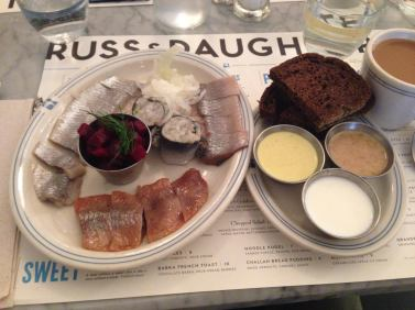 Russ and Daughters herring platter