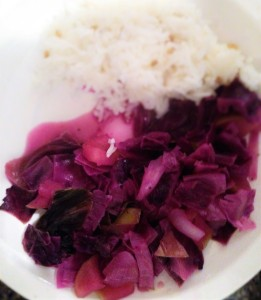 Red cabbage and apples, served with fenugreek-spiced rice.