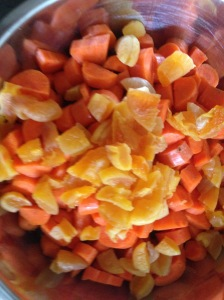 Root veggies and apricots