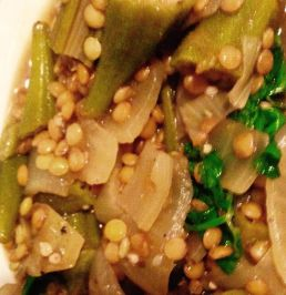 Cooked lentils and okra close-up with cilantro