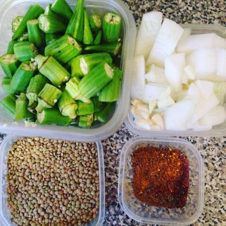 Assembling the ingredients - lentils, okra, onions, spices.