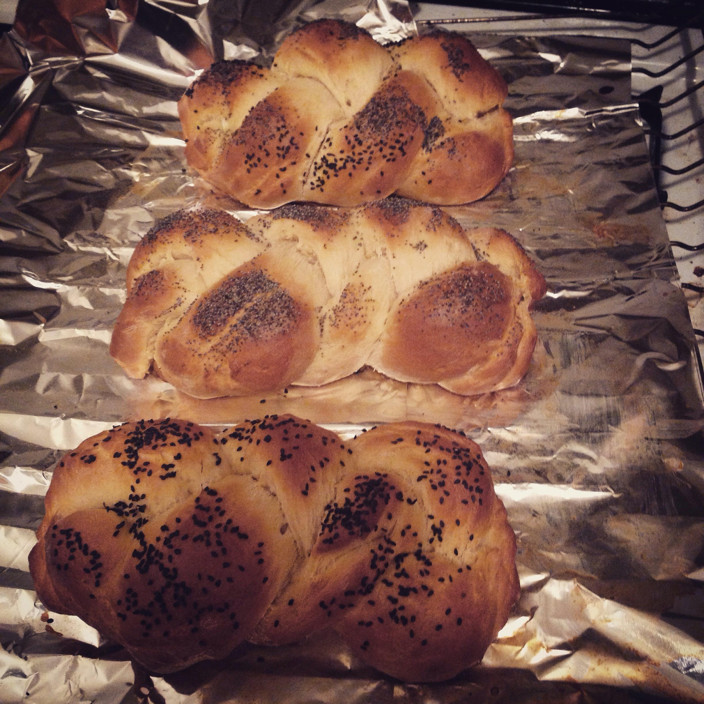 Three baked challahs