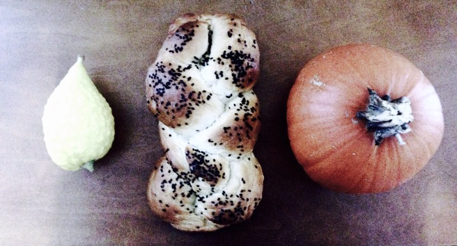 Challah with black sesame seeds, between my etrog and a pumpkin