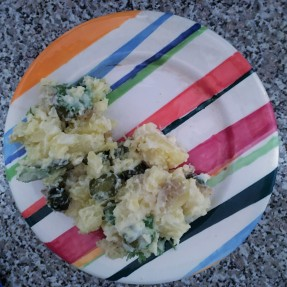 Potato salad on a colored plate