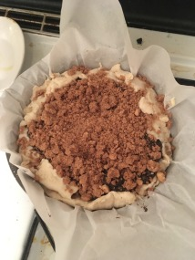 Unbaked cake, waiting to be put into the oven