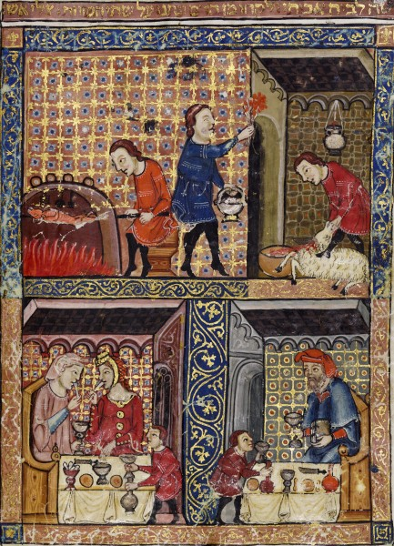 Cooking and feasting from the 14th century Rylands Haggadah, from Catalonia in Spain. The top right panel depicts painting the doorpost with lamb's blood during the Slaughter of the Firstborn in Genesis. (