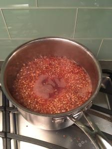 Buckwheat groats boiling in water