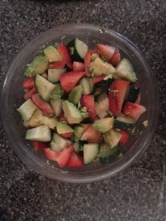 Cucumber avocado strawberry salad