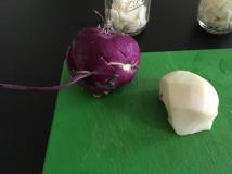 Chopping kohlrabi