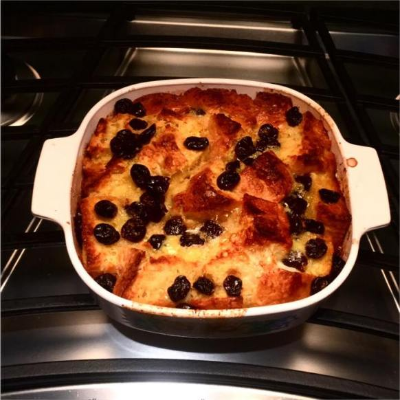 Bread pudding with cherries in the pan