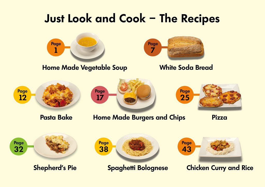 """First page of Just Look and Cook. Reads """"Just Look and Cook - The Recipes. Page 1 - Homemade Vegetable Soup Page 7- White Soda Bread Page 12 - Pasta Bake Page 17 - Homemade Burgers and Chips Page 25 - Pizza Page 32 - Shepherd's Pie Page 38 - Spaghetti Bolognese Page 43 - Chicken Curry and Rice)"""