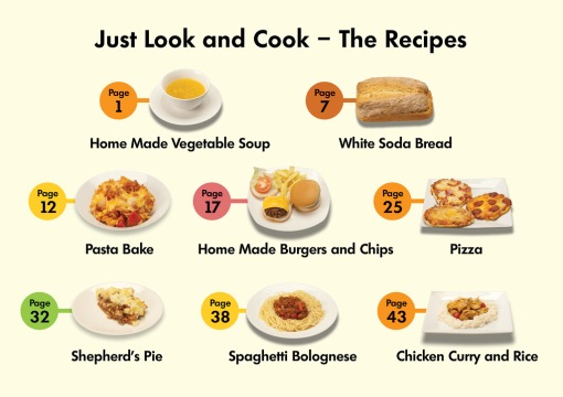 "First page of Just Look and Cook. Reads ""Just Look and Cook - The Recipes. Page 1 - Homemade Vegetable Soup Page 7- White Soda Bread Page 12 - Pasta Bake Page 17 - Homemade Burgers and Chips Page 25 - Pizza Page 32 - Shepherd's Pie Page 38 - Spaghetti Bolognese Page 43 - Chicken Curry and Rice)"