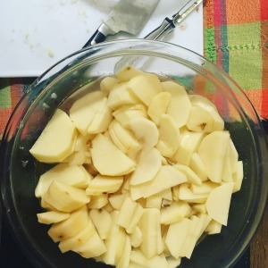 Sliced potatoes in a bowl