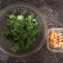 Cilantro and chopped chilies and garlic