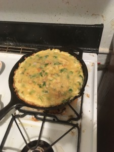 solid frittata in the pan