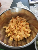 chopped squash in a bowl