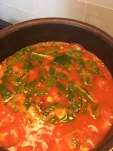 cooking soup in the final stages