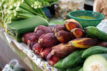 Purple bananas and banana leaves on a table.