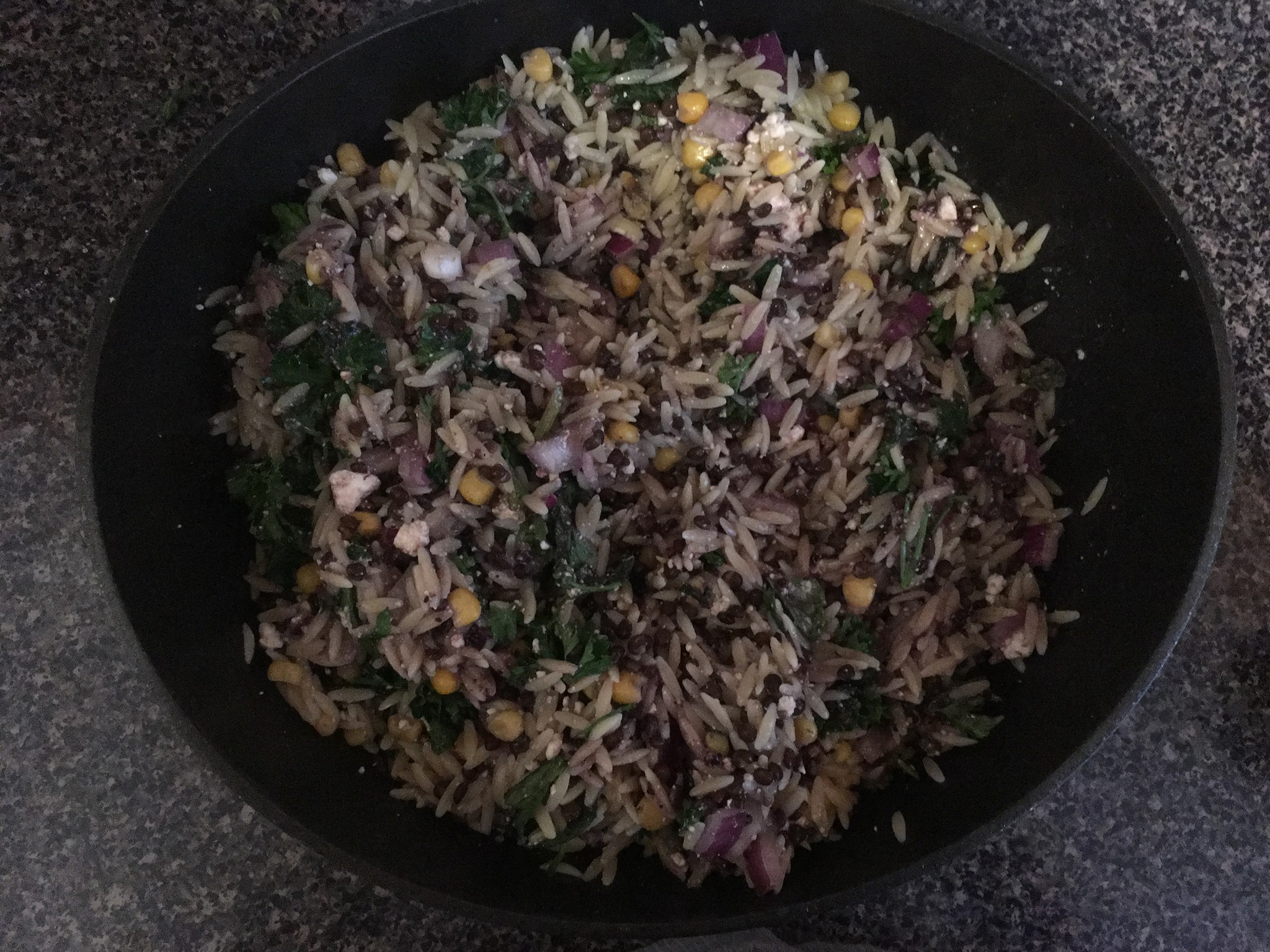 Lentil Orzo Salad in a bowl.