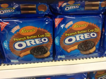 Peanut butter cup oreo packs on a shelf