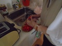 chopping tomatoes