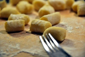 Gnocchi on a board
