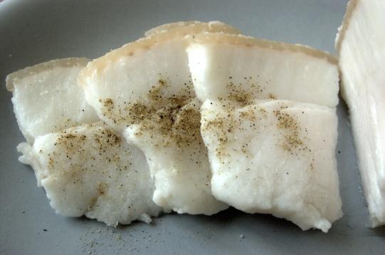 White salo with pepper