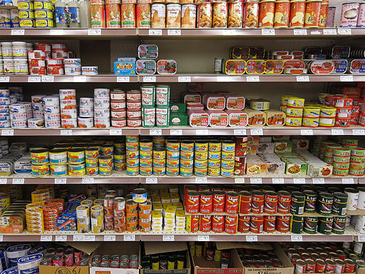 A shelf of canned fish