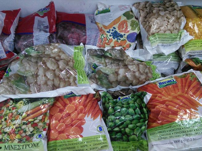 Bags of frozen vegetables