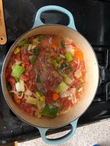 Stew ingredients before meat