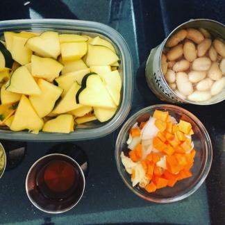 cut squash, beans, veggies, vinegar, spices