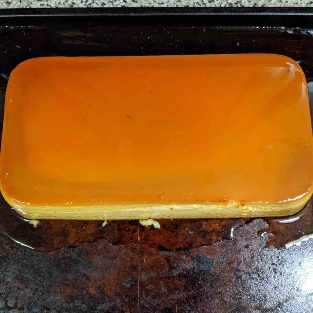 A whole rectangular flan