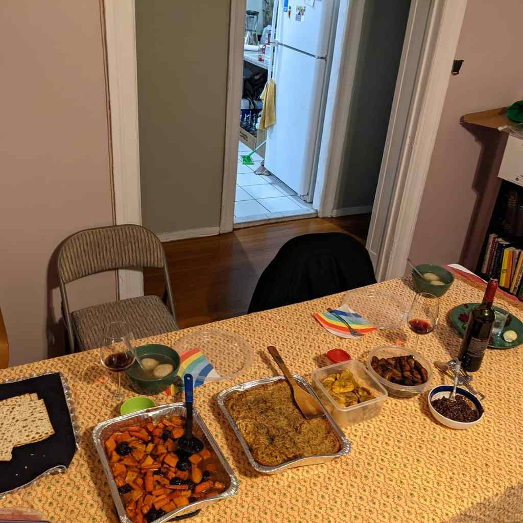 Table with food and seder plate